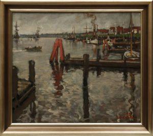 Albert Aereboe (1889 in Lübeck - 1970 ebda), Blick auf Travemünde von einem Landungssteg aus, 1913, Öl auf Leinwand, ca. 48x57cm