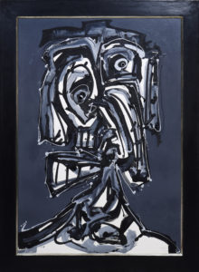 "Antonio Saura (1930 in Huesca - 1998 in Cuenca) ""Dame"", 1985, Mischtechnik auf Papier, u.r. sign. ""Saura"" u. dat., 108x75cm"