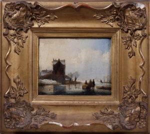 Andreas Schelfhout (1787 in Den Haag - 1870 ebda.) Holländische Winterlandschaft mit zugefrorenem See, Öl/Holzplatte