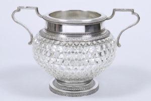 Große Prunkvase, Glas/Silber, 84 Zolotnik, Karl Fabergé, Moskau, um 1908/10, HxD 25x28cm