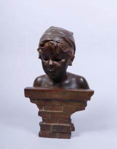 Emmanuel Villanis (1858, Lille - 1914, Paris) Bronze, farbig patiniert, Büste eines jungen Mädchens