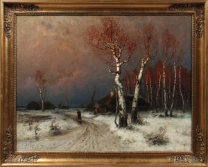 Julius von Klever, Winterlandschaft mit Birken und gerötetem Himmel, ca. 80x98cm, Zuschlag: 7000,-€