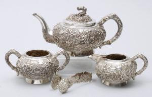 Teeservice, 925er Silber, Luen Wo, Shanghai, um 1880/90, 4-tlg, zus. ca. 1034g, Zuschlag: 2000,-€