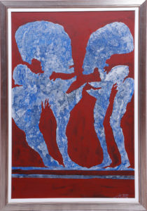 Jan Koblasa, blaue Figuren auf rotem Grund, 1976, Acryl auf Spanplatte, ca. 111x76cm, Zuschlag: 1700,-€