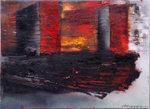 Maria Moser, gegenstandslose Malerei in Rot-Schwarz-Orange, Öl auf Lw., ca. 65x90cm, Zuschlag: 1800,-€