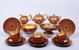 Tee-Service, Porzellan Manufaktur Gardner, Russland, um 1900, 22-tlg., Zuschlag: 3400,-€