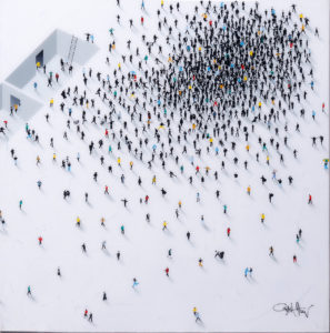 "Craig Alan, ""Conceptual Abstract"" aus der Populus-Reihe, Mixed Media/Resin auf Holz, ca. 90x90cm, Zuschlag: 7000,-€"